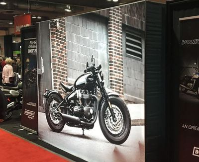 Exhibition display wall from SEG fabric silicon edge frames