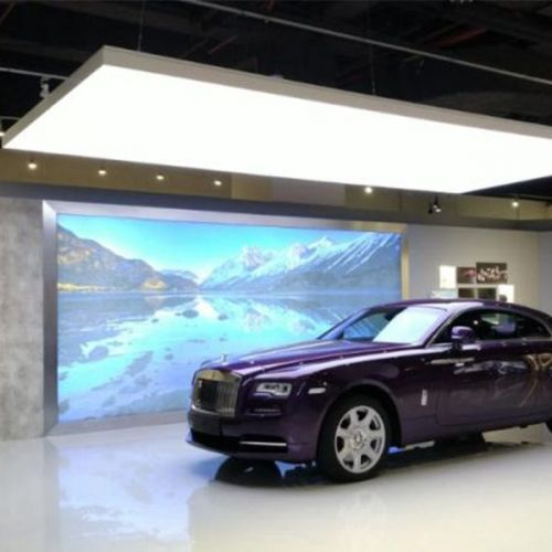 Suspended car showroom graphics